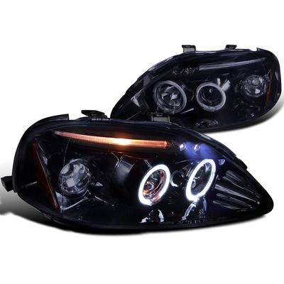 Spec-D 99-00 Honda Civic Angel Eye Halo & LED Projector Headlights - Gloss Black 2LHP-CV99G-TM