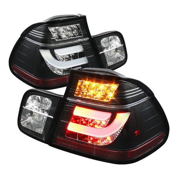 99-01 BMW 3-Series E46 4DR Fiber-Optic Style LED Tail Lights - Black