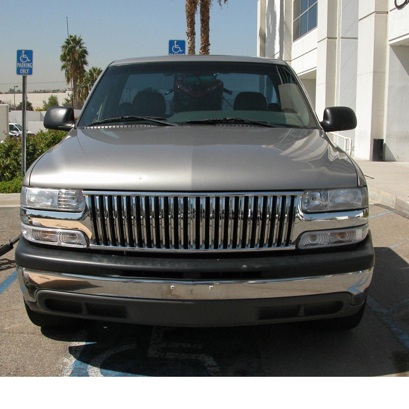 99 02 chevy silverado 00 05 tahoe suburban vertical badge less front grill chrome 99 02 chevy silverado 00 05 tahoe