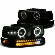 99-02 Chevy Silverado / 00-06 Suburban LED & Halo Projector Headlights + LED Bumper Lights - Smoked