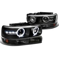 99-02 Chevy Silverado / 00-06 Suburban Tahoe Angel Eye Halo LED Projector Headlights + Bumper Lens - Black