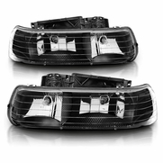 99-02 Chevy Silverado 1500 2500 3500 New Body Model / 00-06 Cheverolet Tahoe Suburban Headlights Assemblies Black Replacement