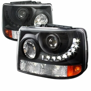 99-02 Chevy Silverado 1PC Projector LED-DRL Headlights - Black