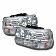 99-02 Chevy Silverado Dual Angel Eye Halo & LED Projector Headlights With Bumper Lens - Chrome