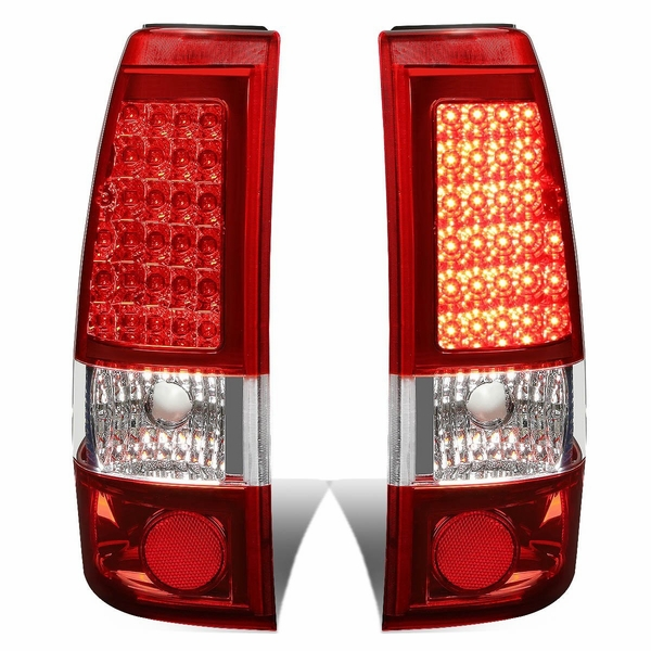 99-02 Chevy Silverado / GMC Sierra Pair of Chrome Housing Red Lens LED Brake Tail Lights