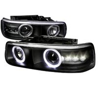 99-02 Chevy Silverado / Suburban / Tahoe Angel Eye Halo & LED Projector Headlights - Black