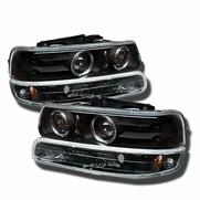 99-02 Chevy Silverado / Suburban / Tahoe Angel Eye Halo & LED Projector Headlights + Bumper Lens - Black