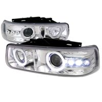 99-02 Chevy Silverado / Suburban / Tahoe Angel Eye Halo & LED Projector Headlights - Chrome