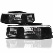99-02 Chevy Silverado / Suburban / Tahoe Crystal Headlights - Black