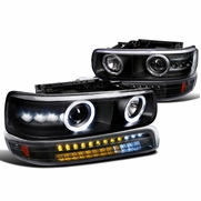 99-02 Chevy Silverado / Suburban / Tahoe Halo Projector Headlights + LED Bumper Lights - Black