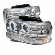 99-02 Chevy Silverado / Suburban / Tahoe Halo Projector Headlights + LED Bumper Lights - Chrome
