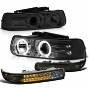 99-02 Chevy Silverado / Suburban / Tahoe Halo Projector Headlights + LED Bumper Lights - Smoked