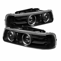 99-02 Chevy Silverado / Tahoe / Suburban Angel Eye Halo & LED Projector Headlights - Black