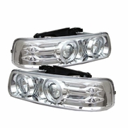 99-02 Chevy Silverado / Tahoe / Suburban Angel Eye Halo & LED Projector Headlights - Chrome