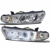 99-03 Mitsubishi Galnt Dual Angel Eye Halo & LED Projector Headlights - Chrome