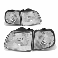 99-04 Ford F150 Euro Style Crystal Headlights + Corner Lens - Chrome