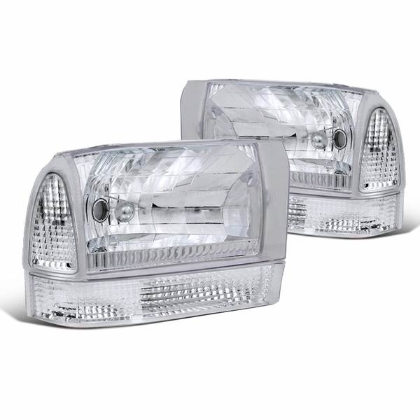 99-04 Ford F250 F350 Euro Clear Headlights Lamps+Corner Signal Lamps