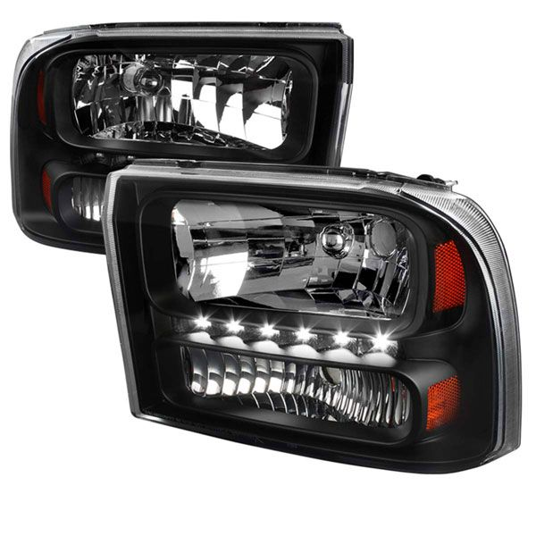 99-04 Ford F250 F350 Excursion 1-Piece LED Crystal Headlights - Black