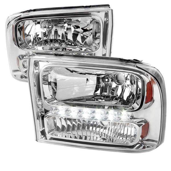 99-04 Ford F250 F350 Excursion 1-Piece LED Crystal Headlights - Chrome