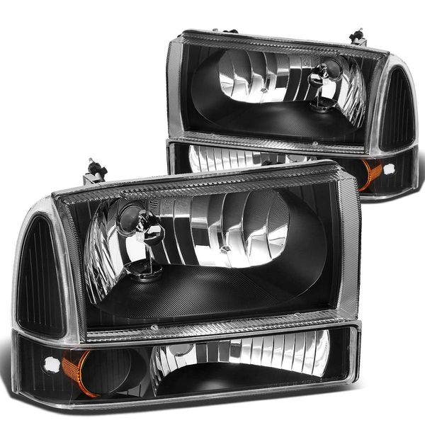 99-04 Ford F250 / F350 / Excursion Euro Crystal Headlights With Corner - Black