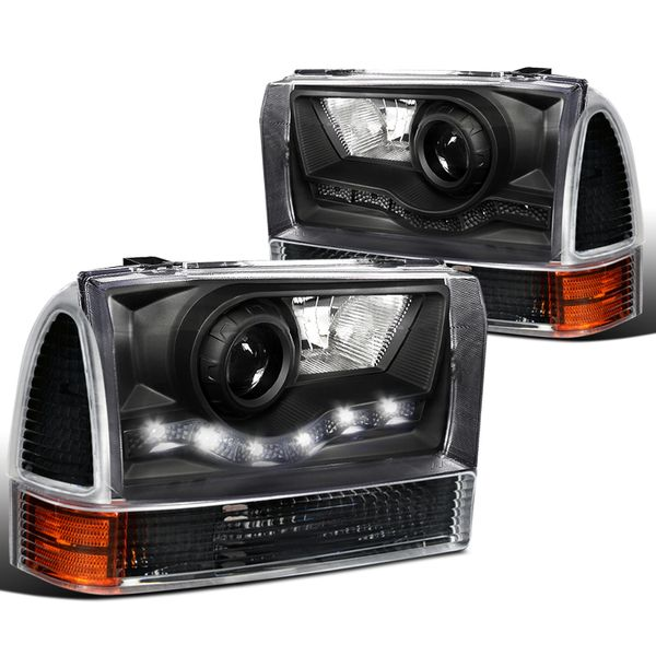 99-04 Ford F250 F350 F450 Excursion LED DRL Projector Headlights Set - Black