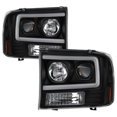 99-04 Ford F250-F550 / 00-04 Excursion LED Tube Projector Headlights - Black
