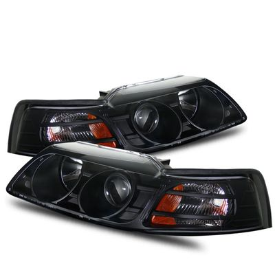 99-04 Ford Mustang 1-Pc Projector Headlights - Black