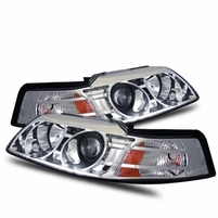 99-04 Ford Mustang 1-Pc Projector Headlights - Chrome