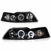 99-04 Ford Mustang 1-Piece Angel Eye Halo & LED Projector Headlights - Black