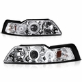 99-04 Ford Mustang 1-Piece Angel Eye Halo & LED Projector Headlights - Chrome
