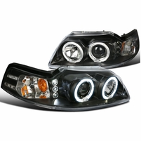 99-04 Ford Mustang Angel Eye Halo & LED 1-Piece Projector Headlights - Black