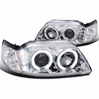 99-04 Ford Mustang Angel Eye Halo & LED 1-Piece Projector Headlights - Chrome