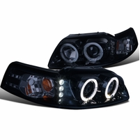 99-04 Ford Mustang Angel Eye Halo & LED 1-Piece Projector Headlights - Gloss Black