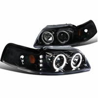 99-04 Ford Mustang Angel Eye Halo & LED 1-Piece Projector Headlights - Gloss Black / Clear Lens
