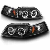 99-04 Ford Mustang Dual Halo / LED DRL Projector Headlights - Black