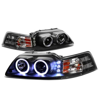 99-04 Ford Mustang Dual Halo + LED DRL Projector Headlights - Black Amber