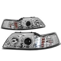 99-04 Ford Mustang Dual Halo + LED DRL Projector Headlights - Chrome Amber