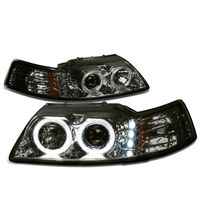 99-04 Ford Mustang Dual Halo + LED DRL Projector Headlights - Smoked Amber