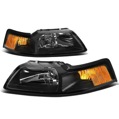 1999-2004 Ford Mustang 1-Piece Euro Crystal Replacement Headlights - Black