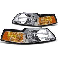 1999-2004 Ford Mustang 1-Piece Euro Crystal Replacement Headlights - Chrome