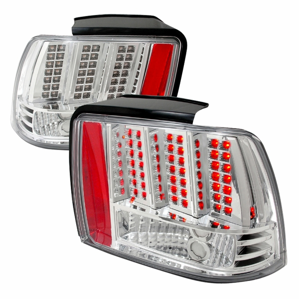 99-04 Ford Mustang Euro Style LED Tail Lights - Chrome