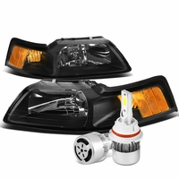 99-04 Ford Mustang Headlights with Amber Reflector (Black Housing)+6000K White LED w/ Fan