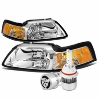 99-04 Ford Mustang Headlights with Amber Reflector (Chrome Housing)+6000K White LED w/ Fan