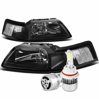 99-04 Ford Mustang Headlights with Clear Reflector (Black Housing)+6000K White LED w/ Fan