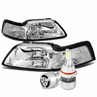 99-04 Ford Mustang Headlights with Clear Reflector (Chrome Housing)+6000K White LED w/ Fan