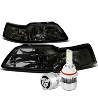 99-04 Ford Mustang Headlights with Clear Reflector (Smoke Lens)+6000K White LED w/ Fan