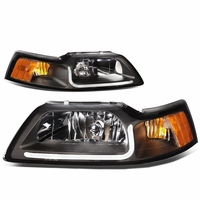 99-04 Ford Mustang LED DRL Bar Headlights - Black / Amber