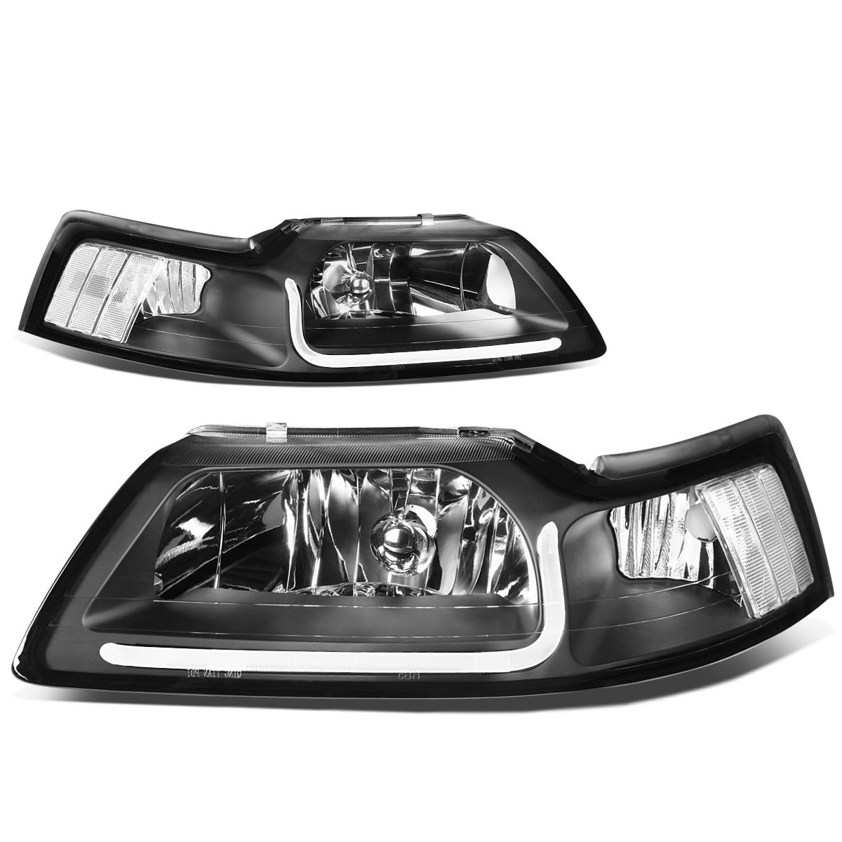 99 04 ford mustang led drl bar headlights black clear 99 04 ford mustang led drl bar