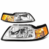 99-04 Ford Mustang LED DRL Bar Headlights - Chrome / Amber