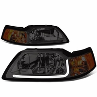 99-04 Ford Mustang LED DRL Bar Headlights - Smoked / Amber